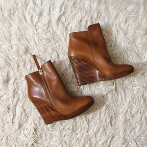 NEW Michael Kor Brown Wedge Boots/Booties